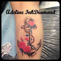 InkDiamond ancre rose tattoo