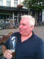 John samples some Belgian brew