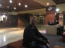 Andy W relaxing in the Hotel