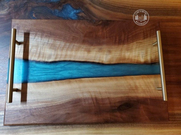 Figured Walnut Blue/Green Resin