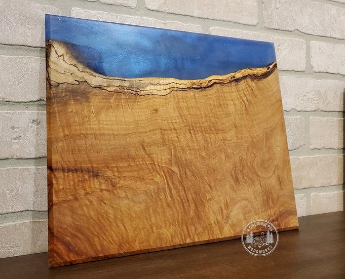 Spalted Figured Maple & Deep Blue Sea Resin