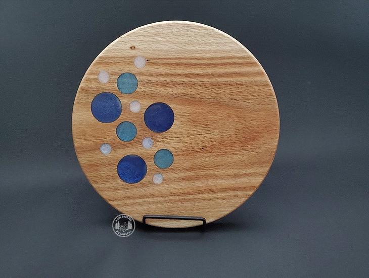 "Round ""Bubbles"" Oak Charcuterie Tray"