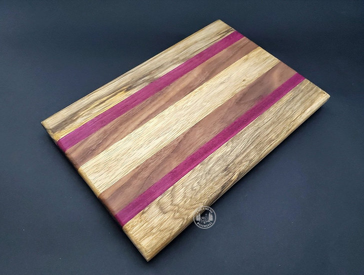 Small Black Limba, Purple Heart, Walnut Cutting board