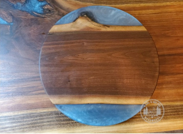Walnut & Blue Resin Round