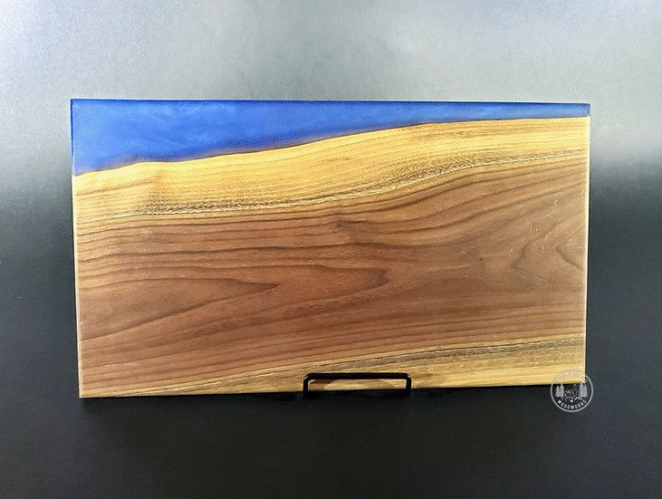 Walnut with blue diamond river resin