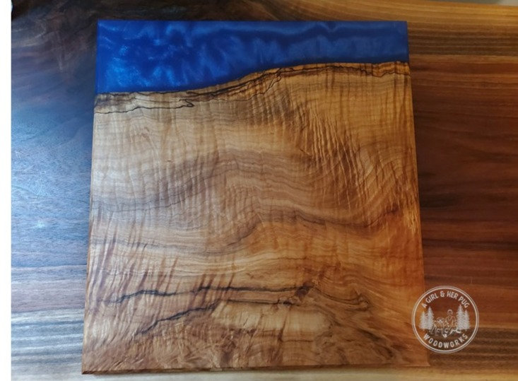 Spalted Figured Mapl & Deep Blue Sea Resin-