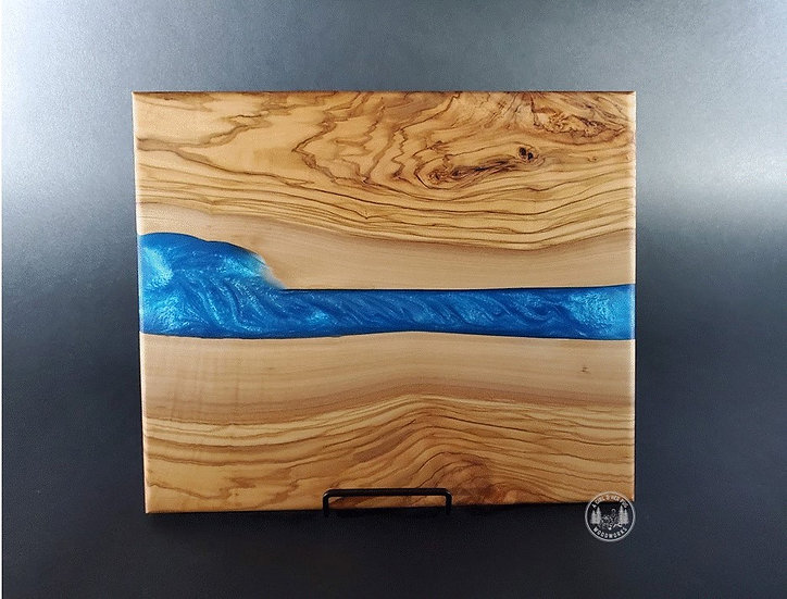 Olivewood & caribbean blue river resin charcuterie