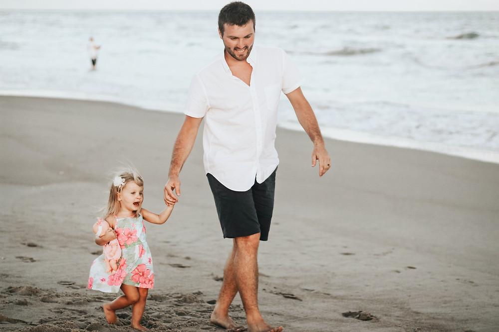 Holiday Walk on Beach Child Travel Abroad