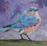 Blue Bird Collage of painted paper