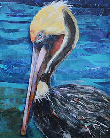 Pelican paper collage