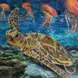 Sea Turtle dancing jelly fish