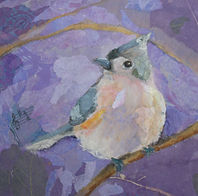 Titmouse collage painted papers