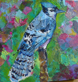 Blue Jay painted paper collage