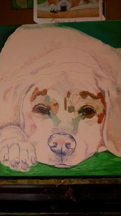 When I paint your pet, I always begin with a colored pencil sketch on the canvas.  I then do an intense study of their eyes, and begin there.  This as you know is the window through which we can connect with their soul.