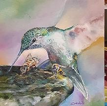 hummingbird bee mixed media collage
