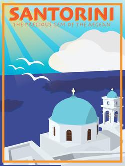 Santorini Poster: Illustrator