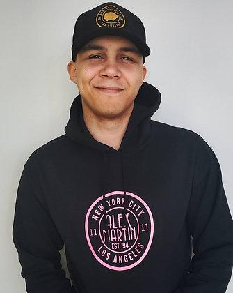 Black Alex Martin Hoodie w/ pink logo