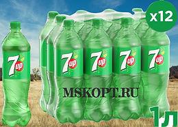"Лимонад ""7UP 1 литр"" упаковка из 12 шт. бутылок"