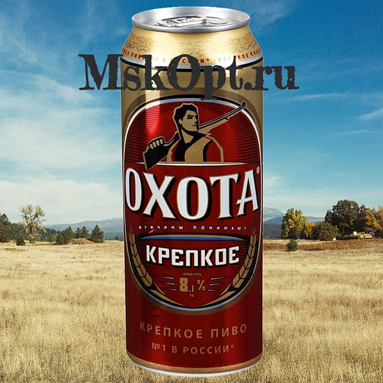 "Пиво ""Охота крепкое"" (24 шт.) ж/б 0,45 л."