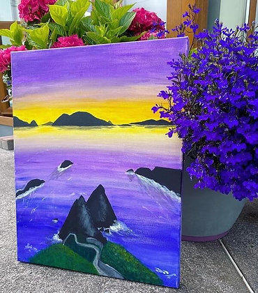 Dunquin Pier Sunset Painting