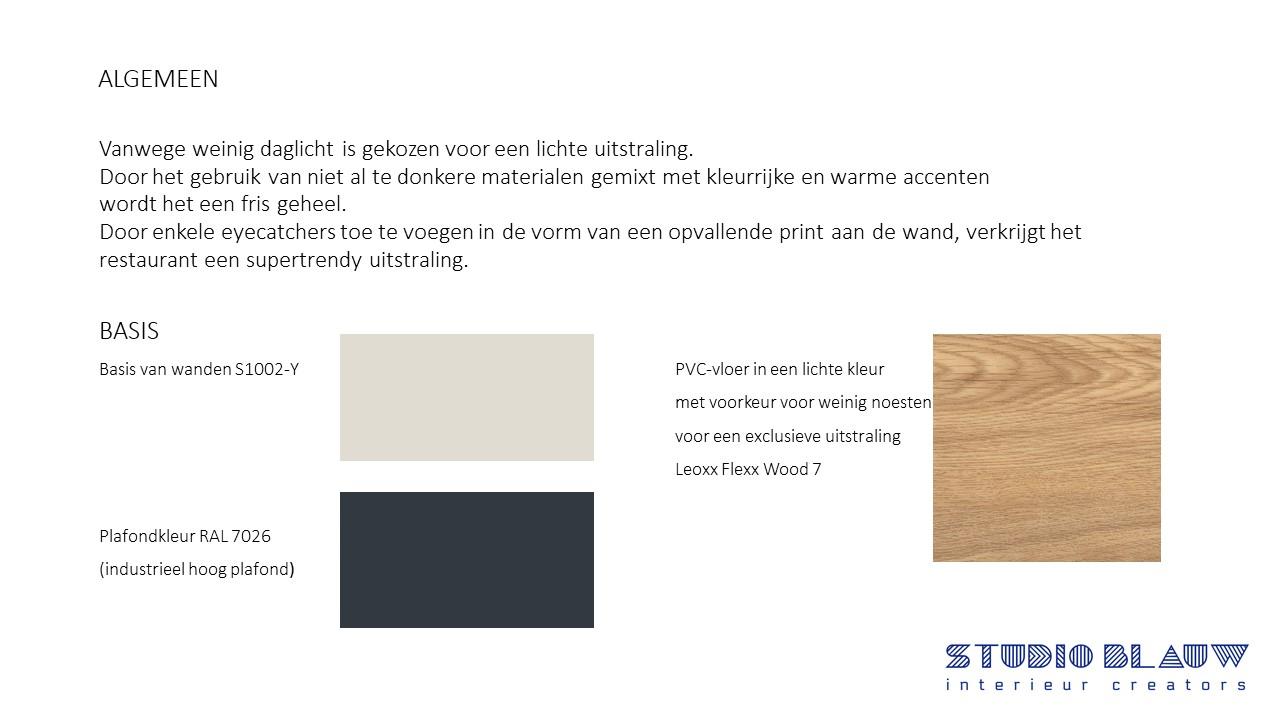 basis kleuren ontwerp restaurant