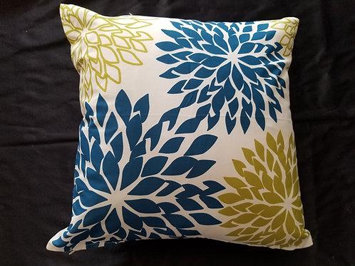 Olive & Dark Teal Patterned Pillow
