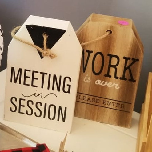 Work from Home Meeting signs