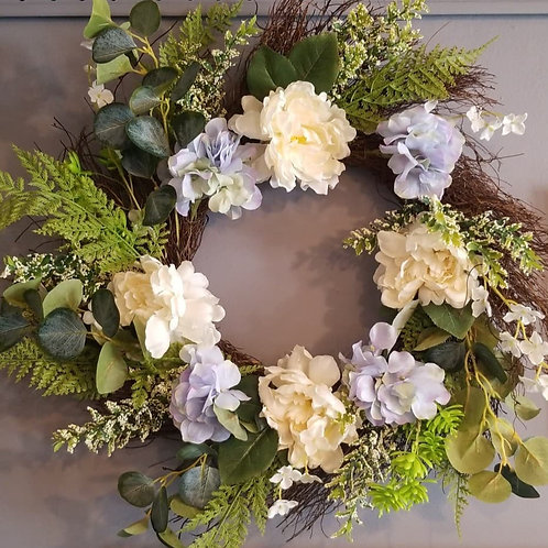 Spring Wreath (Blue & Cream)