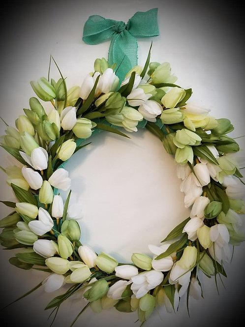 Tulip Wreath (Green & White)