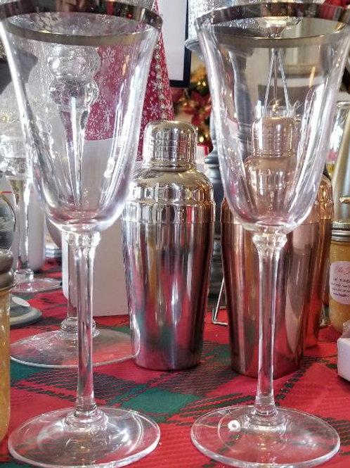 Silver Rimmed Glasses (Set of 2)
