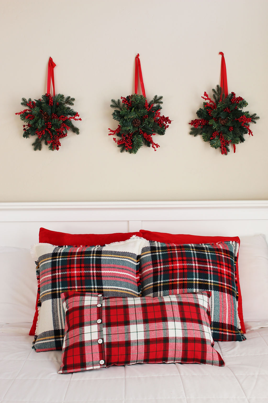 Christmas Pillows from a Scarf
