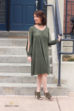 Olive Green suede dress