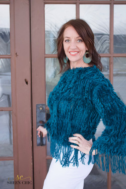 Blue Sweater made from two scarves