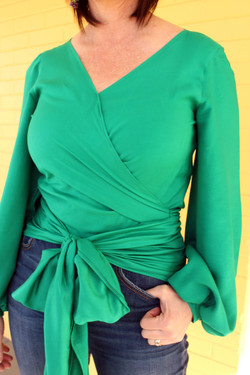 Green Wrap blouse perfect for Spring