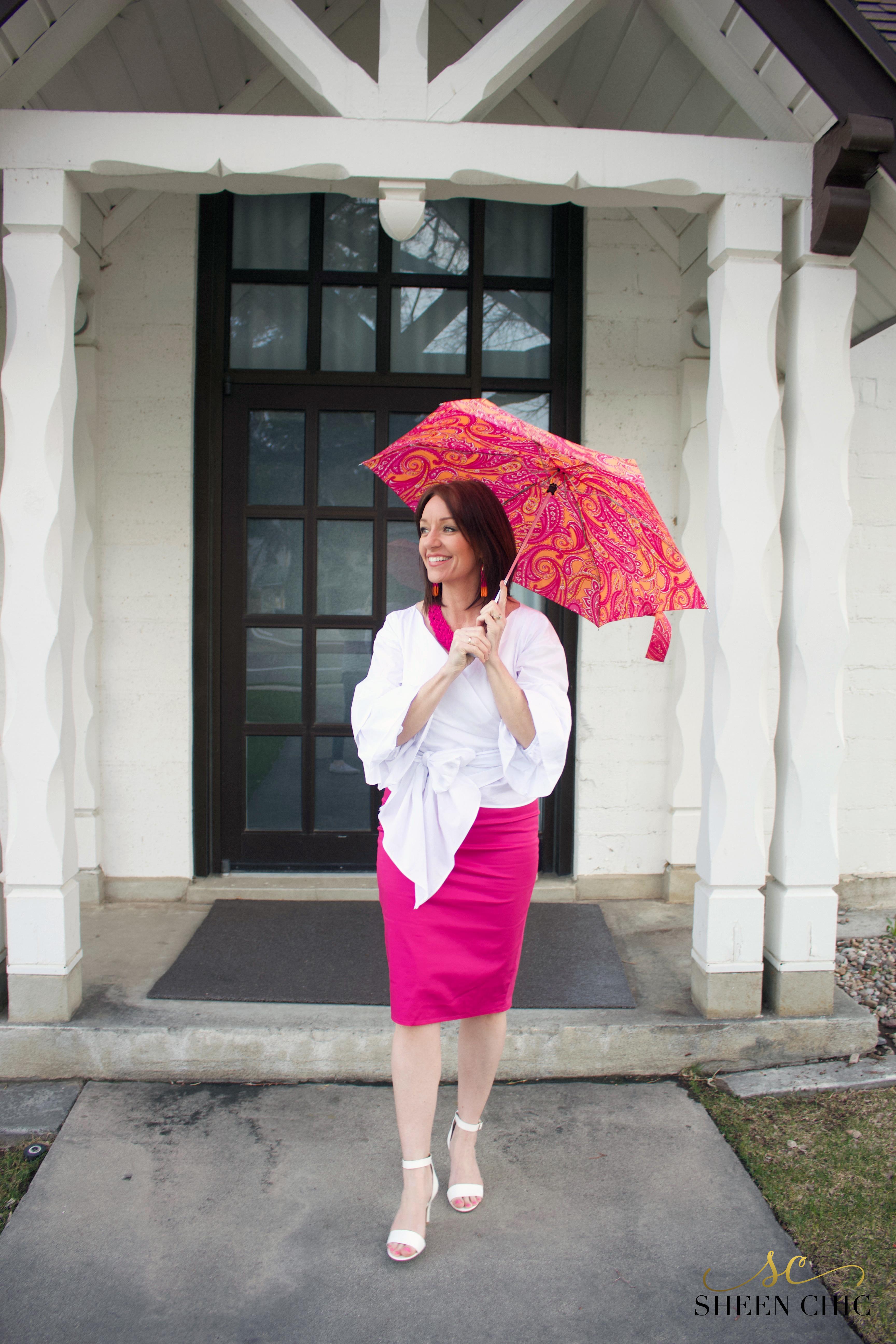 Hot pink pencil skirt DIY