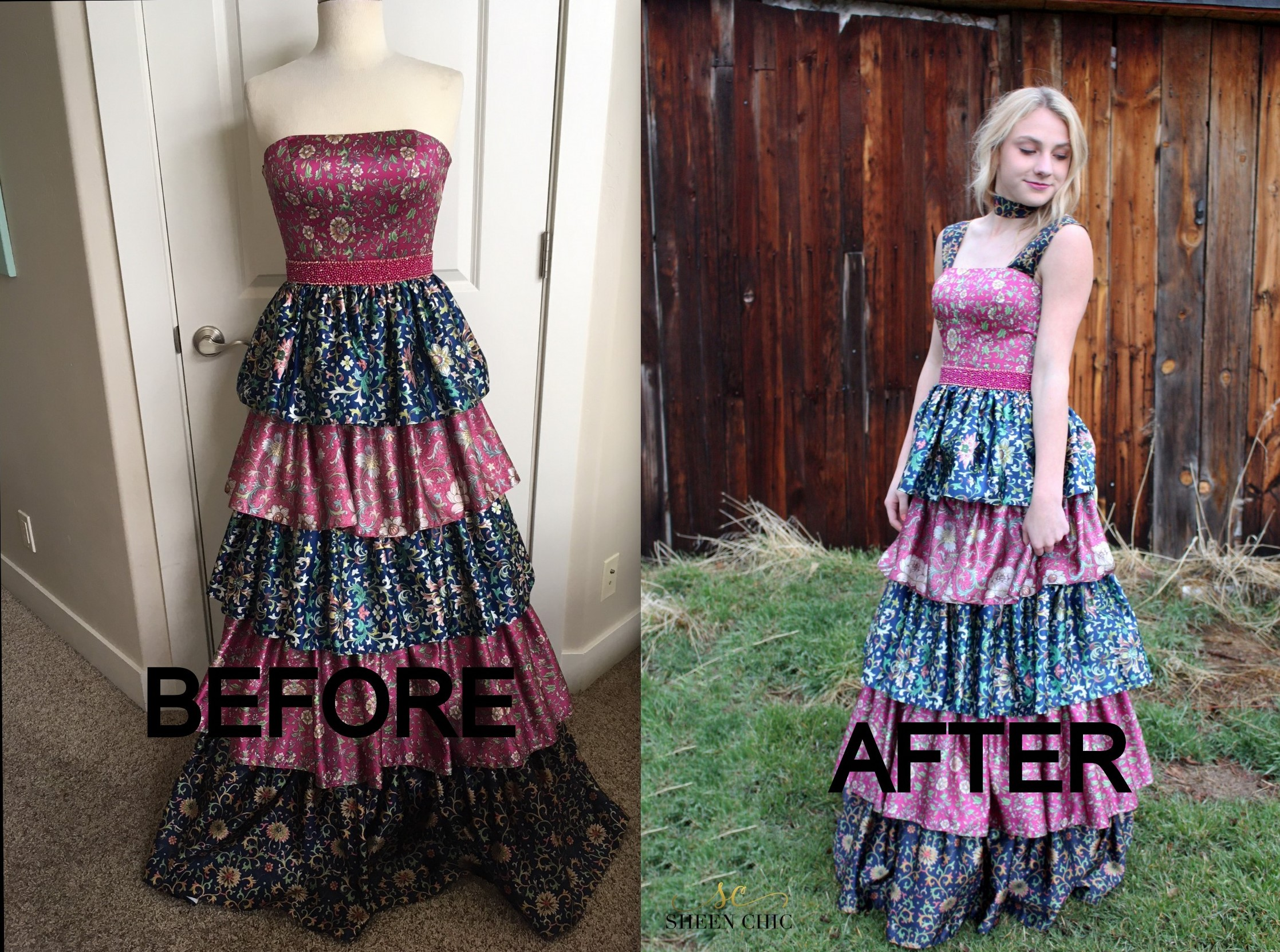 How to add straps to a formal gown