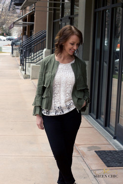 Olive jacket with ruffle sleeves