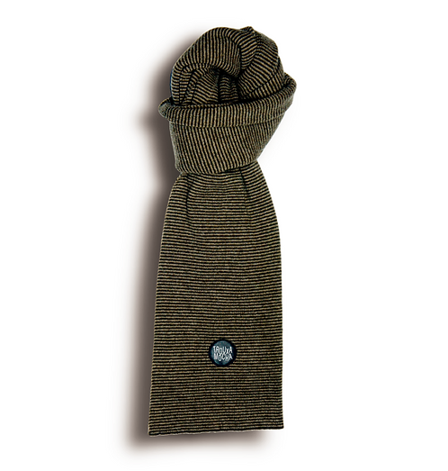 Lambswool Scarf by Trouxa Mocha [ brown stripes]