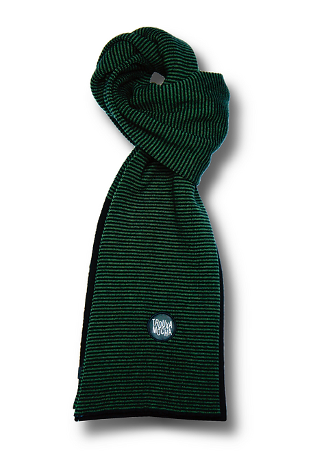 Lambswool Scarf by Trouxa Mocha - [green stripes]