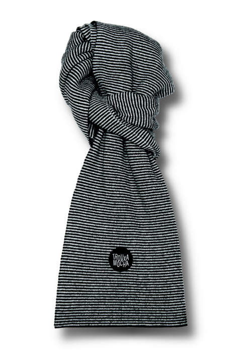 Lambswool Scarf by Trouxa Mocha [black stripes]