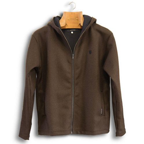 hooded jacket - brown burel