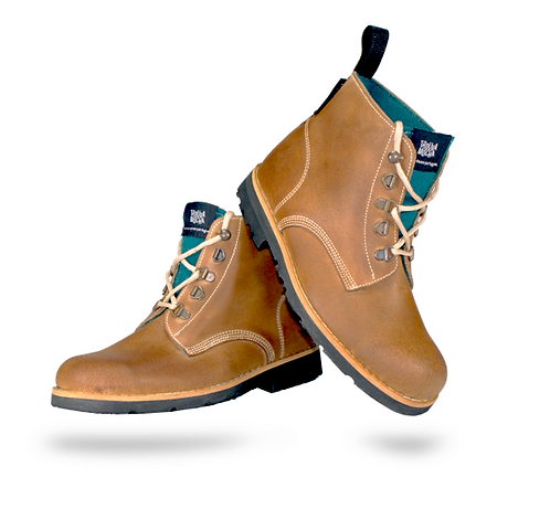 Leather boots with blue burel [BA]