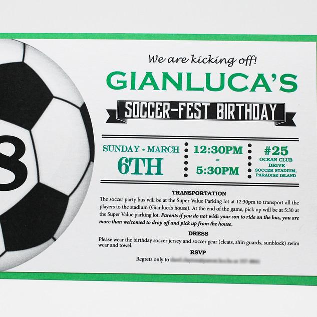 Soccer Theme Birthday Invitation