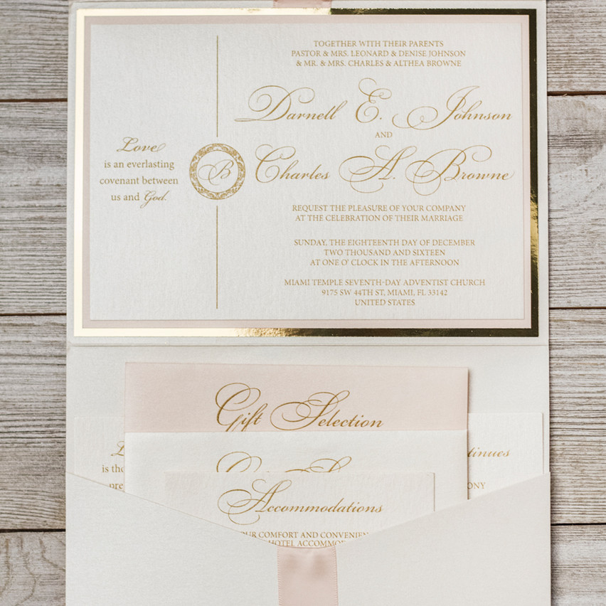 Pocket invitation with style and simple sophistication