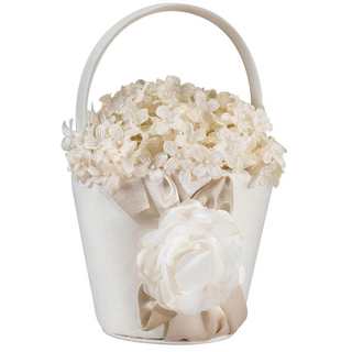 Taupe Rose Flower Girl Basket