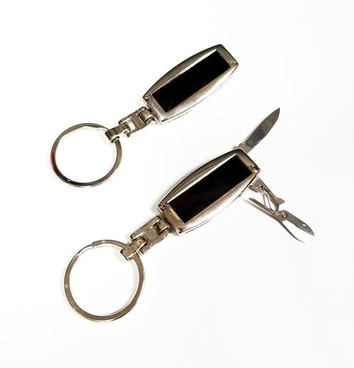 NEW - Deluxe Silver Metal Pocket Knife Keychain with Scissors
