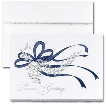 Blue Ribbon & Silver Pine Cone