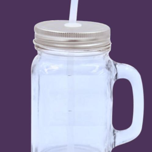 12 Oz. Glass Farmhouse Mason Jar W/Straw