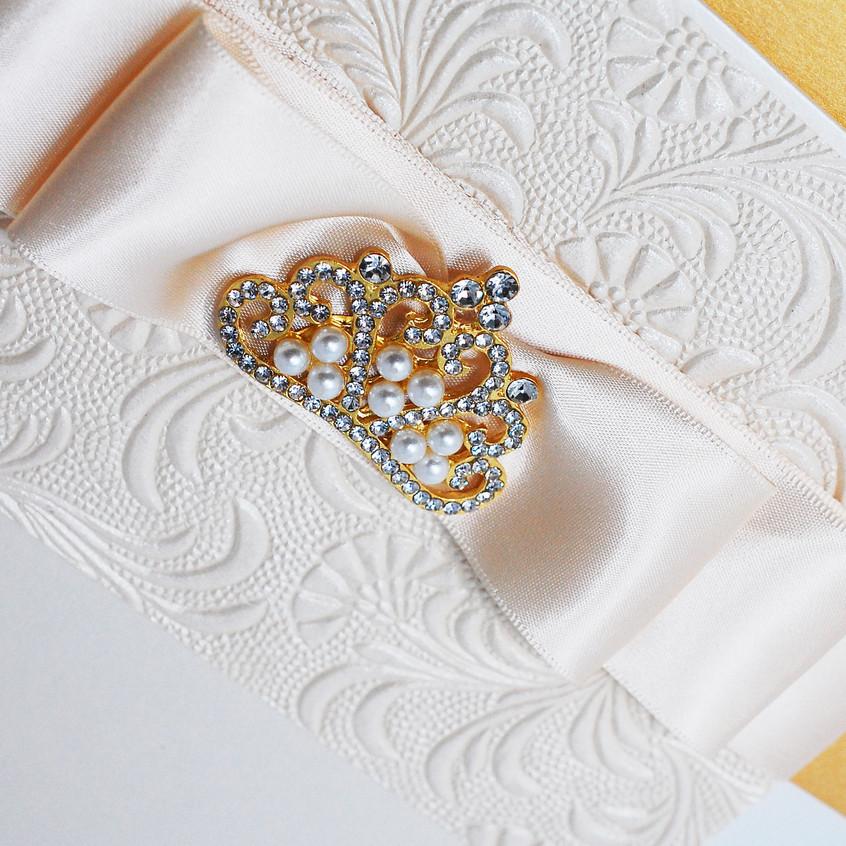 Custom gold & pearl brooch