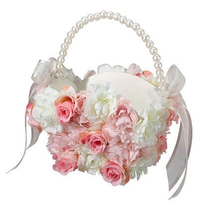 Pink & White Floral Flower Girl Basket